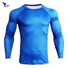 New Men Compression Skin Tight Shirt MMA Long Sleeves 3D Printed Rashguard Fitness Base Layer Weight Lifting Tops Tees Quick Dry