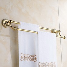 Golden Polished Brass Wall Mounted Double Towel Bars Towel Holder Towel Rack Bathroom accessories KD767