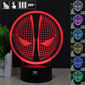 HUI  YUAN Deadpool 3D Night Light RGB Changeable Mood Lamp LED Light DC 5V USB Decorative Table Lamp Get a free remote control