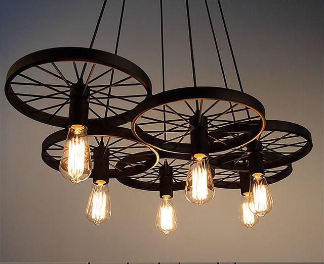 Lampada Vintage Industriale : Vintage industriale loft retro ruota di metallo di ferro nero luce