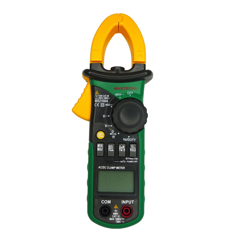 MS2108A Digital Clamp Multimeter Auto Range 4000 Counts LCD Display Data Hold Ammeter Voltmeter Ohmmeter + Diode Continuity Test vichy vc9806 digital multimeter dmm ammeter voltmeter ohmmeter w capacitance frequency