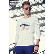 Enjeolon brand Mens Fashion long sleeve T Shirts, o-collar printing black Clothing For Man's T-Shirts Slim Tops Tee RST1901-1