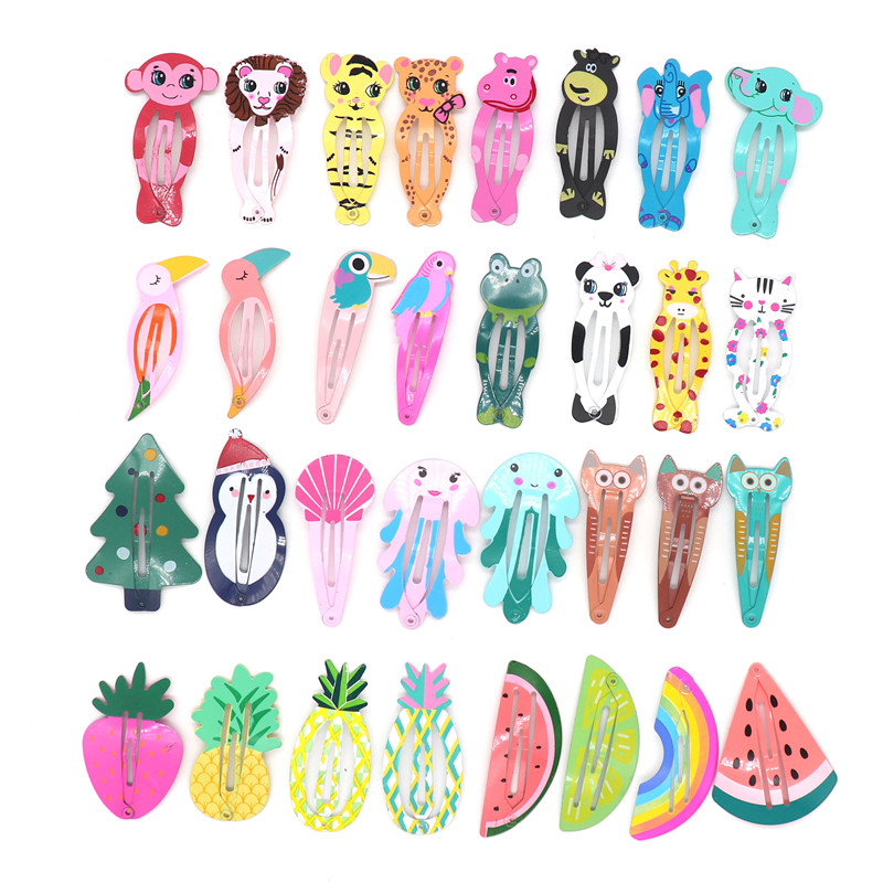 32Pcs/Set Cute Colorful Snap Metal Hair Clips For Baby Girls Toddler Cartoon Fruit Animal  BB Hair Pins Barrettes With Gift Bag