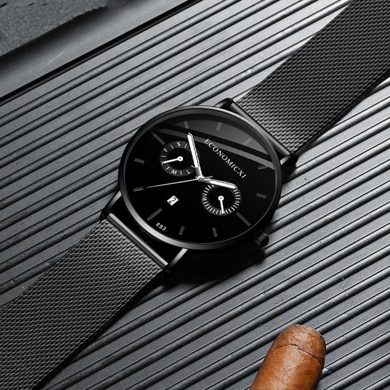 Luminous Creative Watch Minimalism Design Business Quartz Simple Men Watches Mesh Strap WristWatch Friend Gift Relogio Masculino in Quartz Watches from Watches