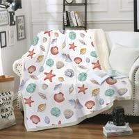 Sofa cushion Yoga mat Blanket Air Conditioner Blanket Thick Double layer Plush 3D Digital Printing Blanket Starfish Series