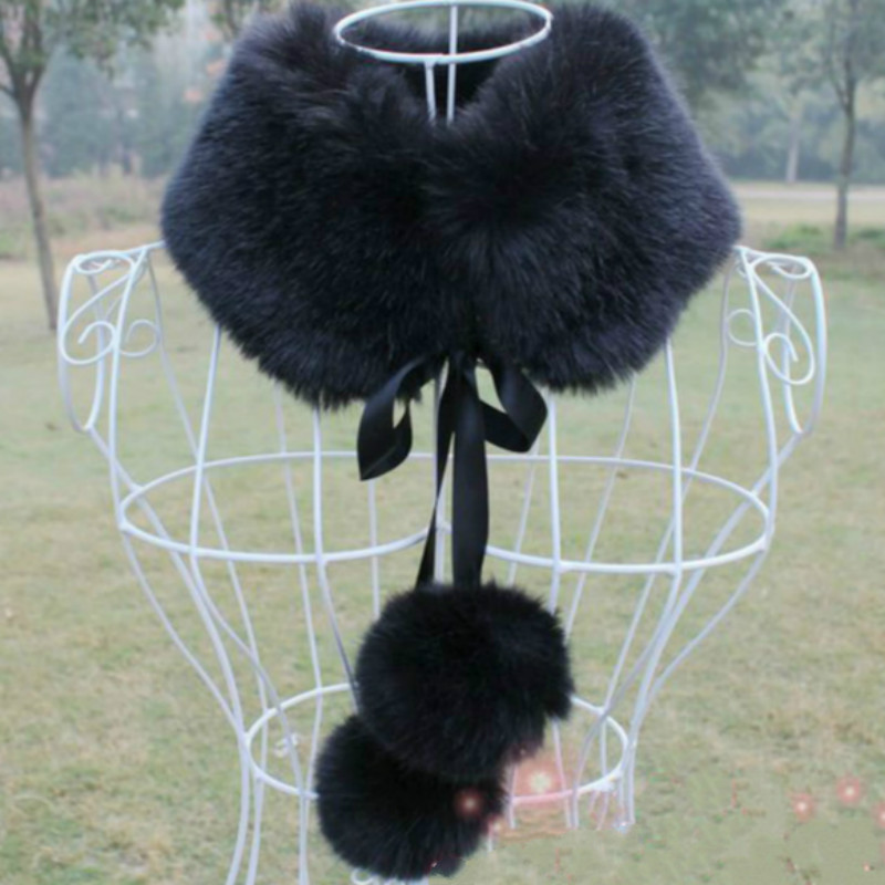 women Faux fur collar scarfs winter warm Faux fox fur scarfs   wraps   with ribbons and fur balls 7 colors   scarf   coat jacket colar