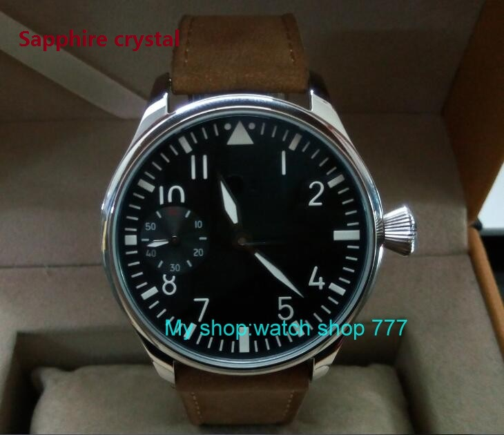 Sapphire crystal 44mm PARNIS black dial Asian ST3600 6497 Mechanical Hand Wind movement green Luminous men
