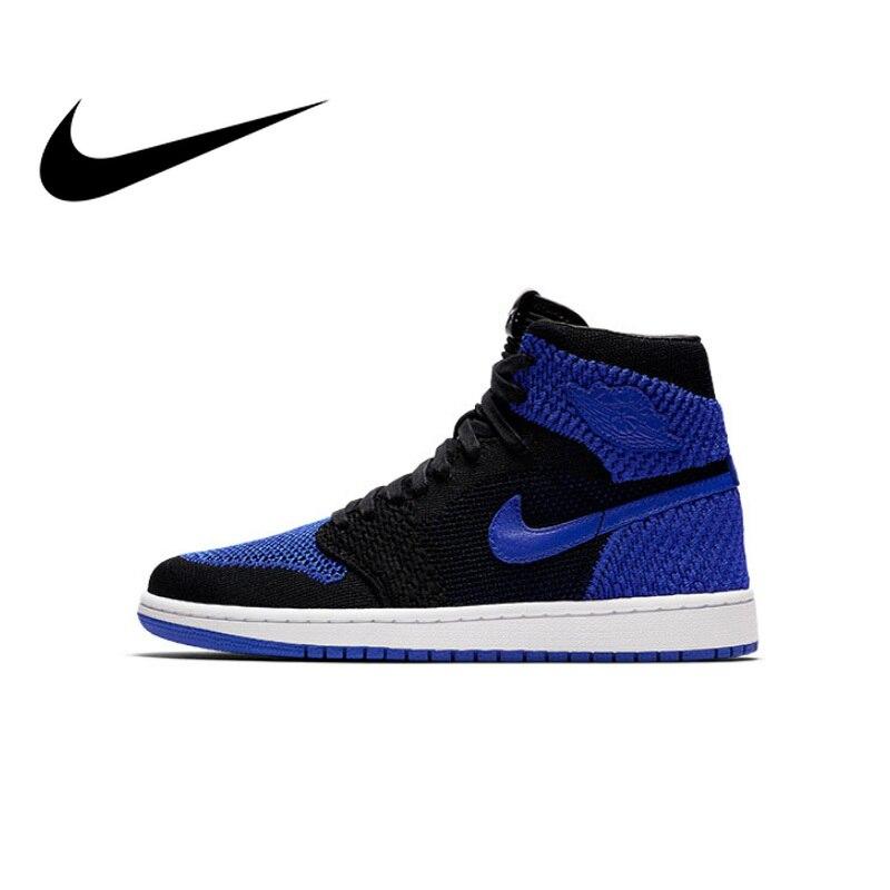 Original authentique officiel Nike Air Jordan 1 Flyknit AJ1 hommes chaussures de basket respirant sport baskets antidérapant confortable 919704