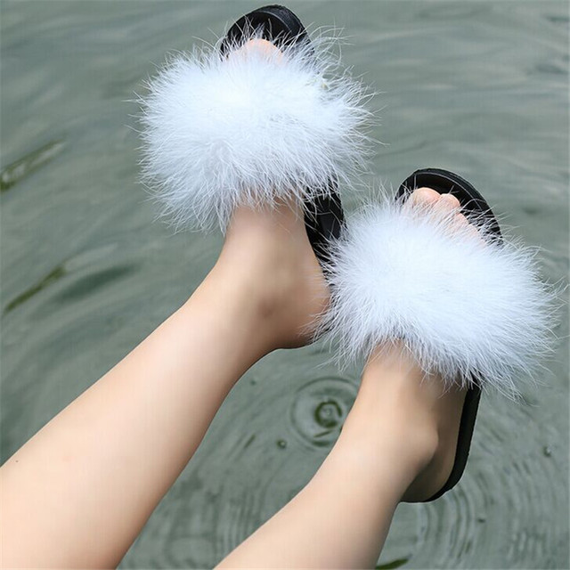671ea95f5 Women Fur Slippers Furry Slide Ostrich Feather Home Slippers Fashion Flip  Flops Beach Sandals Summer Women Flats Home Shoes-in Slippers from Shoes on  ...