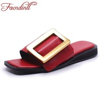FACNDINLL Summer Shoes Genuine Leather Platform Sandalsladies Party Casual Shoes Women Beach Sandals Casual Red Black