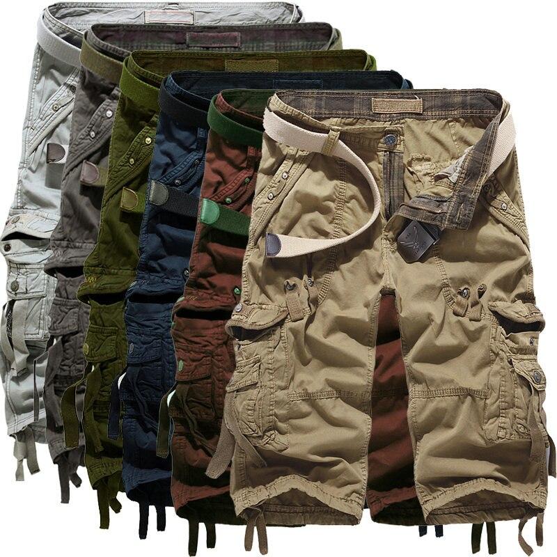 Top Selling 2017 Summer Calf Length Cargo mens shorts Multi pocket Solid Men Beach Shorts Capris