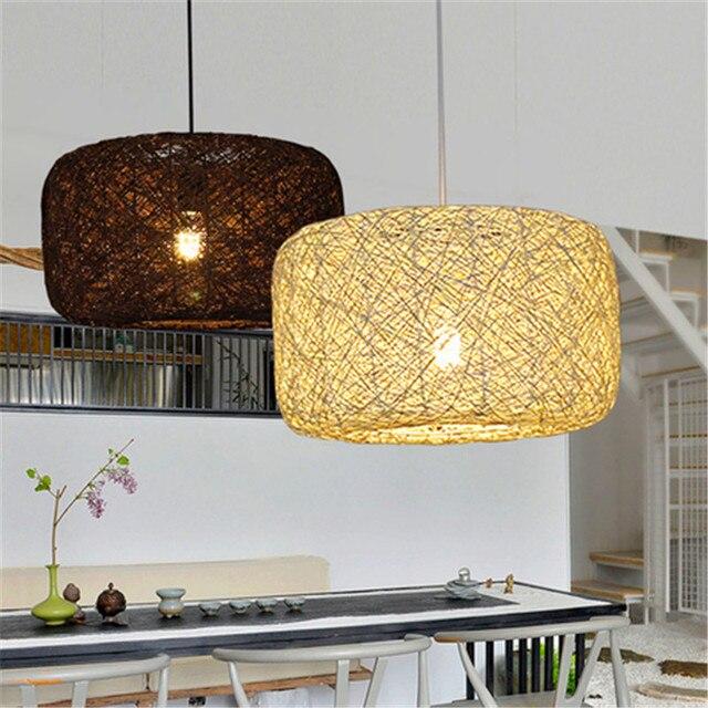 Rattan Wicker Pendant Lights Kitchen Restaurant Vintage Bird Cage Lampshade Clical Chinese Light Modern Design Decoration