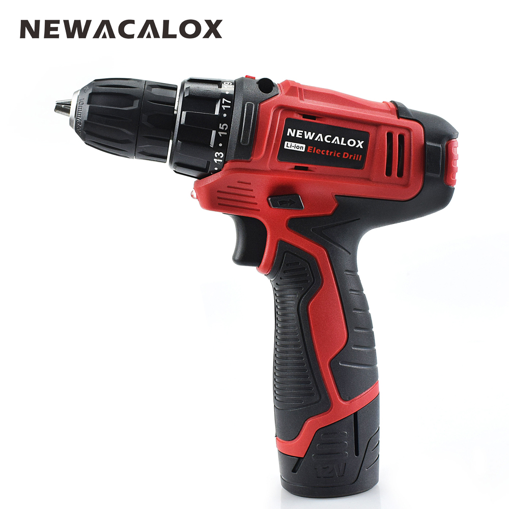 NEWACALOX 10.8V Household Cordless Drill Lithium Li-ion Battery Electric Drill Screwdriver