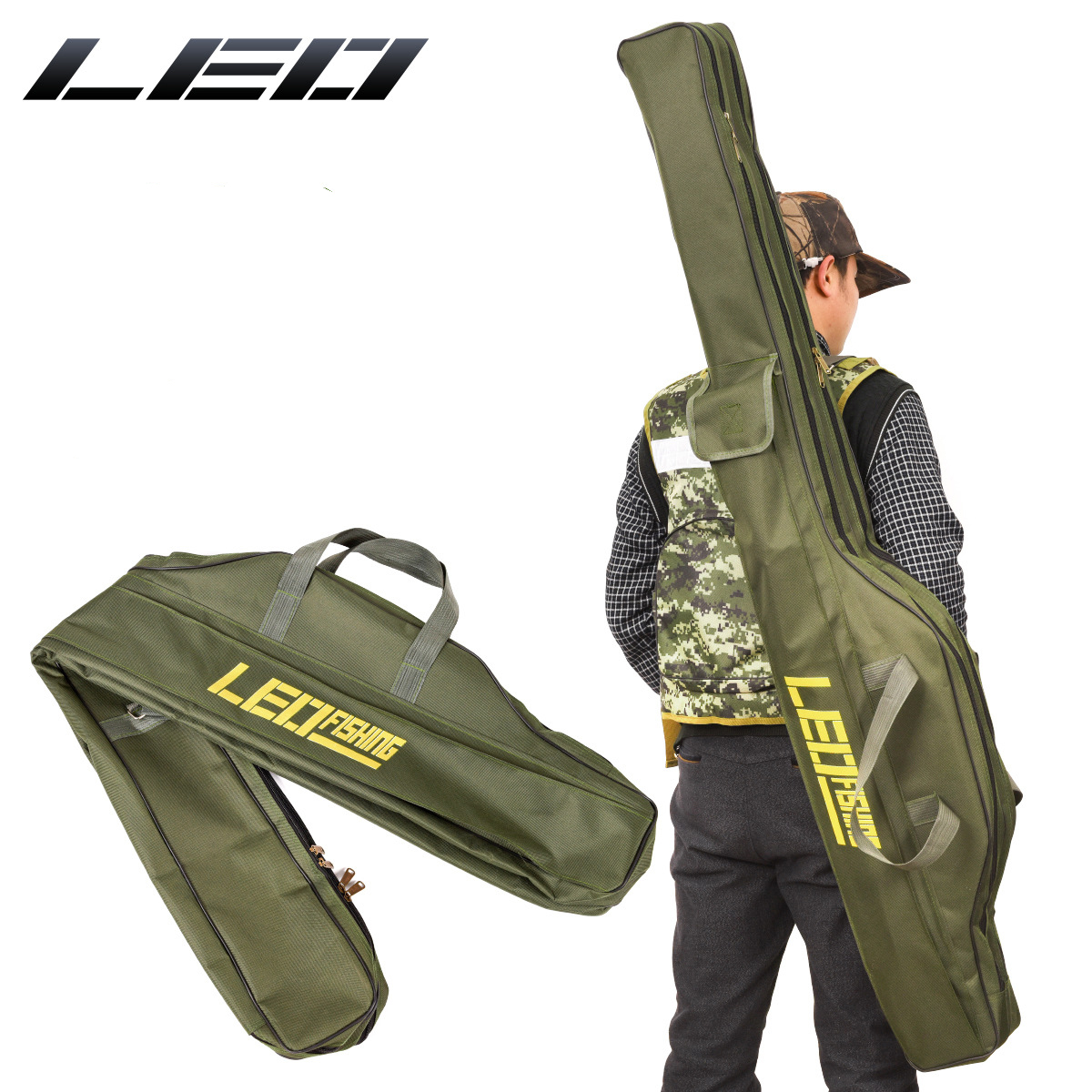 Devoted Folding Fishing Rod Bags Fishing Bags 420d Zipped Case Fish Pole Tools Storage Bag Case Holder Gear Tackle Pesca 100cm/150cm Jade White