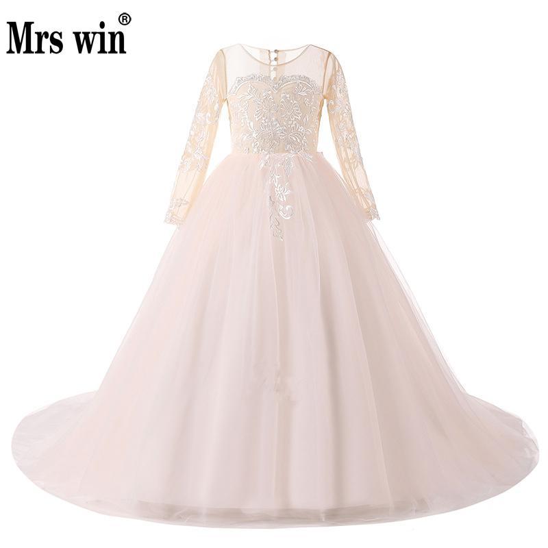 2018 Long Sleeve   Flower     Girl     Dresses   For Weddings First Communion   Dresses   For   Girls   Birthday Party Sweet Design Elegant Lace