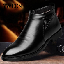 YWEEN Waterproof Boots Men Winter Plush Leather Boots Comfortable Warm Snow Boots For Men