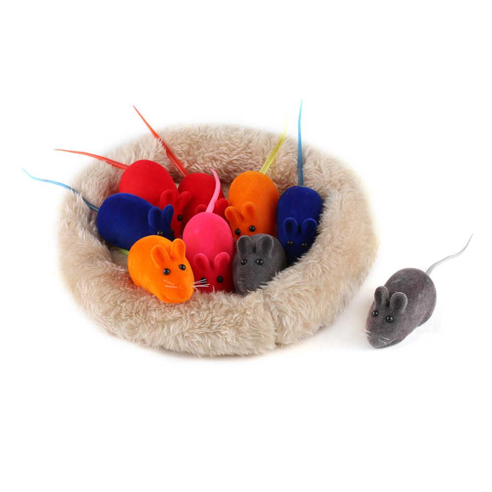 Warna Acak!!! 1 PC Lucu Hewan Peliharaan Kucing Anak Kucing Bermain Mainan Indah False Mouse Tikus Mencicit Suara Suara Hewan Peliharaan Aksesoris