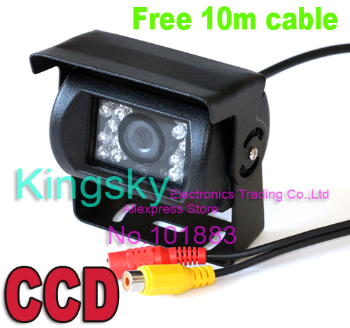 Waterproof 18 IR LED Night Vision HD Car Reverse Backup Parking Rearview CCD Camera Free 10m Cable for 12V Bus Truck