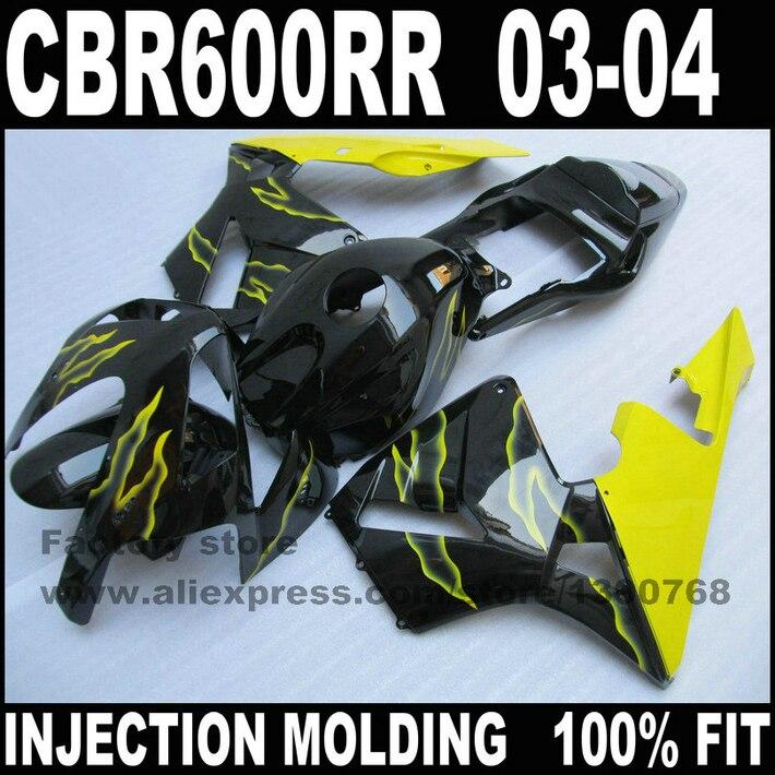 ABS пластик инъекции обтекатели комплект для HONDA CBR 600 RR 03 04 CBR 600 CBR600 RR 2003 2004 желто-черный обтекатель наборы кузова