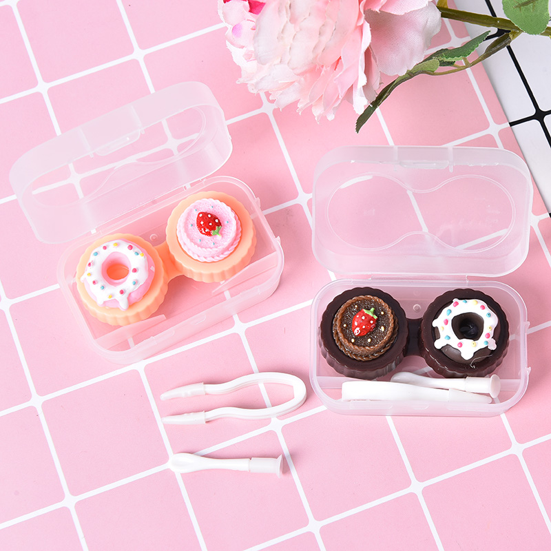 1PC Cream Cake Glasses Double Contact Lenses Box Contact Lens Case For Eyes Care Kit Holder 2 Colors