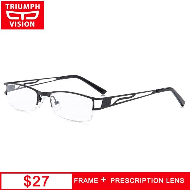 minorista online 13a52 3ccdd Gafas TRIUMPH VISION Semi sin montura para hombres gafas de prescripción  personalizada miopía ultraligeras finas Metal