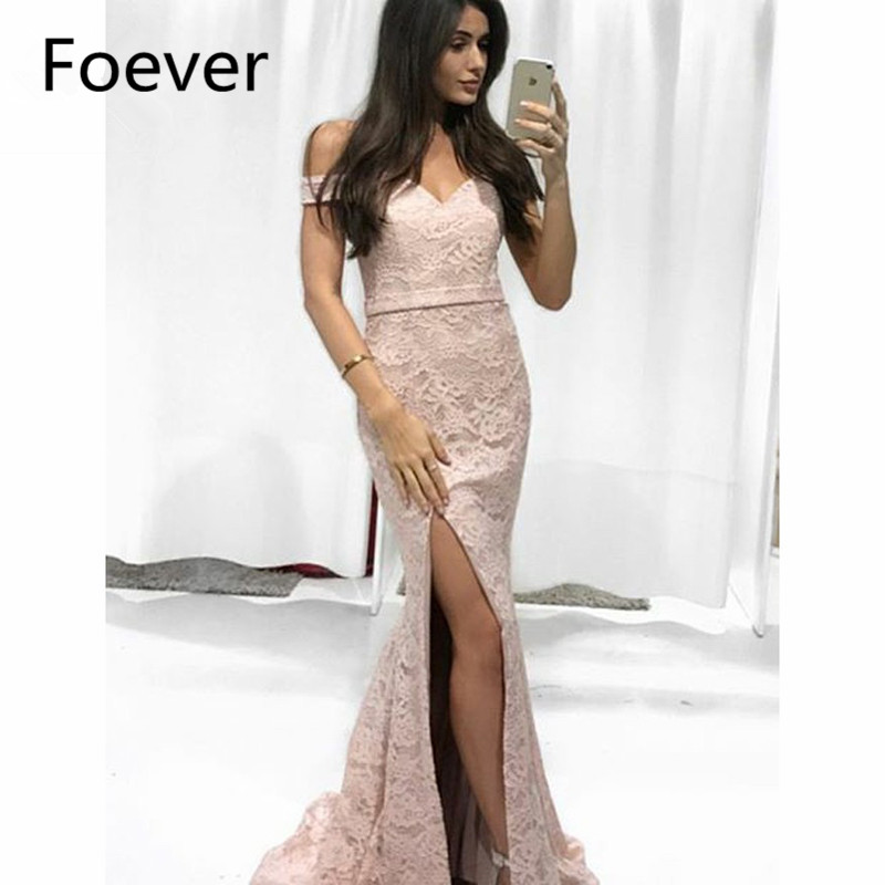 2019 Mermaid Off Shoulder   Evening     Dresses   Long Lace Satin Lace up Back Short Sleeve Prom Gown Dusty Pink Formal   Evening     Dress