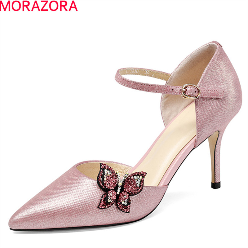 MORAZORA 2018 new sweet pink pointed toe summer shoes simple buckle women pumps genuine leather wedding shoes high heels shoes summer new pointed thick chunky high heels closed toe pumps with buckle ankle wraps sweet sandals women pink black gray 34 40