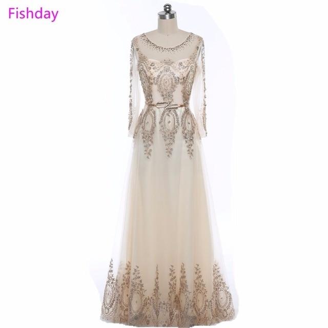 Fishday Evening Dresses Elegant Women Long Sleeve Sexy Appliques Ladies Tulle Formal Luxury Ashi Plus Size Vestido de Festa B30