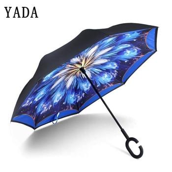 YADA Blue Folding Reverse Double Layer Umbrella For Women Inverted Umbrellas Rainproof Protection Car C-Hook Hand YD090