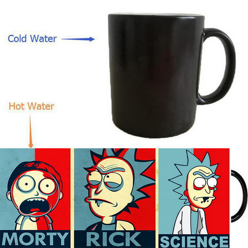 Rick and Morty coffee mugs heat change color mug Back To The Future mug heat reveal