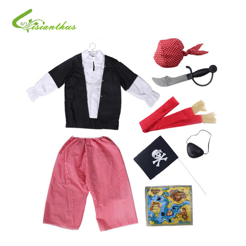 Children Halloween Costumes Pirate Sets Cosplay Stage Wear Clothing Kids Boys Girls Halloween Party Clothes Free Drop Shipping