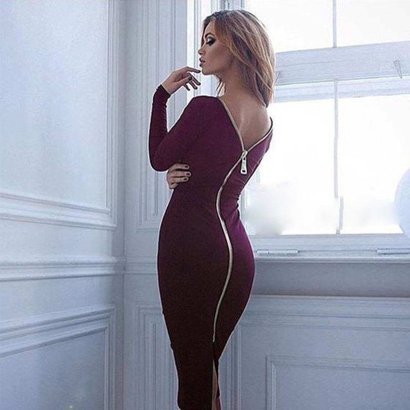 Spring new large size Bodycon dress Solid Color Round neck long sleeve Back zipper tight dress Female Fashion Clothes D1240 4