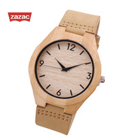 ZAZAC Wooden Quartz Watches Casual Fashion Leather Wood Watch Reloj Masculino Mens Watch Wooden Wristwatch GIFT