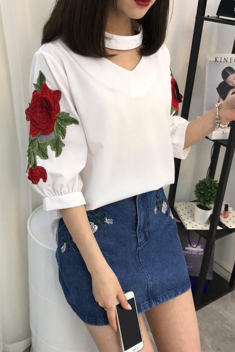 Summer Women Shirts Solid Loose Embroidery V-neck Hanging Head Collar Roses Blouse Shirt White Blue 8901 Women's Clothing