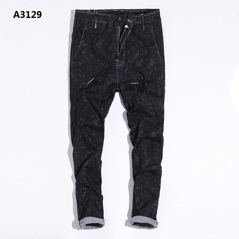Drawstring Black Jeans Men Snow Wash Denim Overalls Men Regular Fit Brand Clothing Mens Jeans Masculino Pants rtls 28-38 A3129 black snow