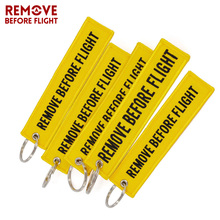 5 PCS Remove Before Flight llaveros Yellow Pendant Keychian Embroidery Tag Motorcycle Key Ring For Car key holder Chains