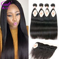 Ariel 4 Bundles Straight Hair And Closure 13*4 Ear To Ear Lace Frontal Closure With Bundle Malaysian Virgin Hair With Closure 8A