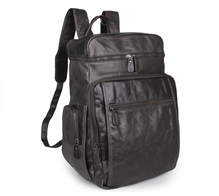 New Arrival 100% Excellent Genuine Leather Gray Laptop Backpacks Tote Bag 7202I new arrival 100