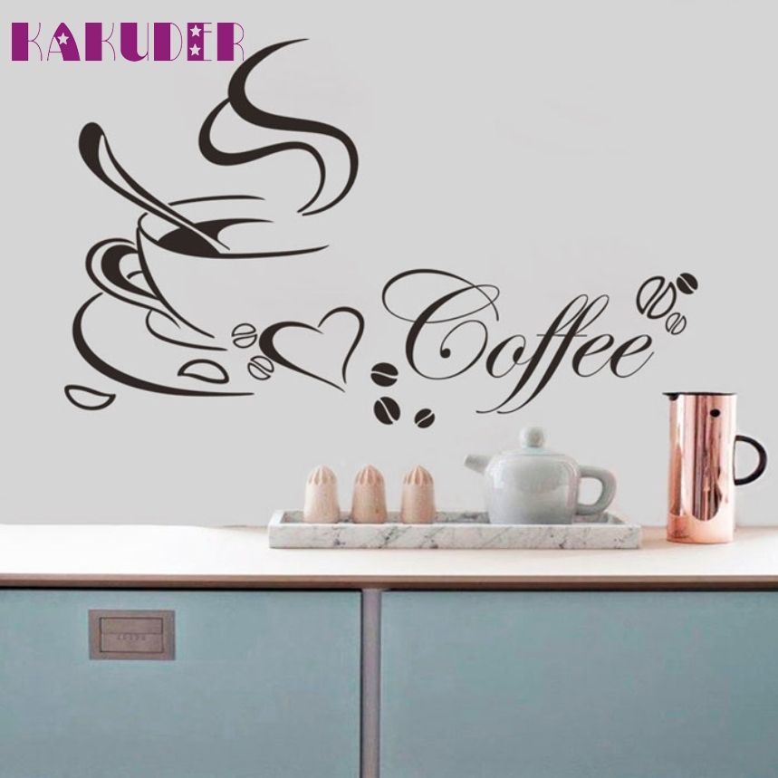 KAKUDER Top Grand Coffee Cup Heart Quote Restaurant Kitchen Removable Wall Stickers DIY Home Decor Wall Art MURAL Drop Shipping