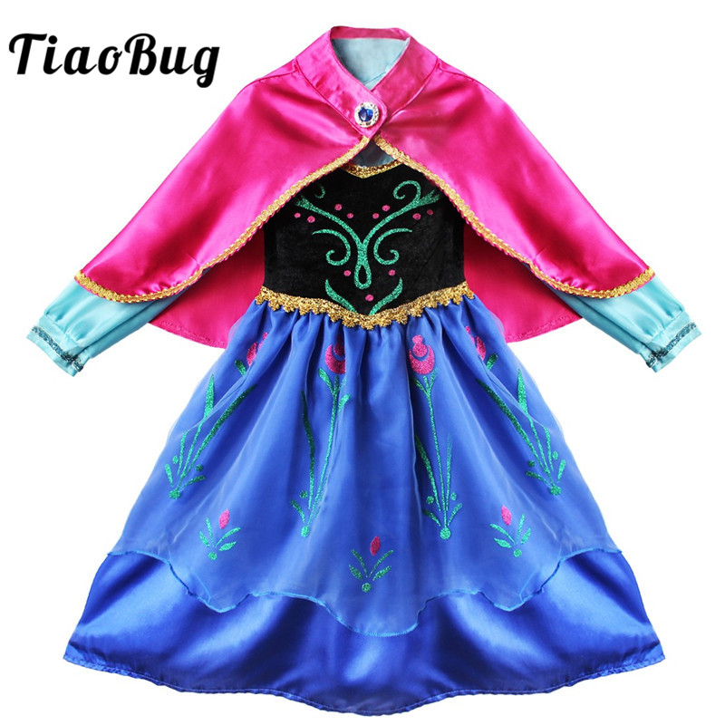 TiaoBug Children Girls Flowers Princess Embroidery Long Dress with Cape Cloak Kids Halloween Xmas Costume Cosplay Party Dress Up