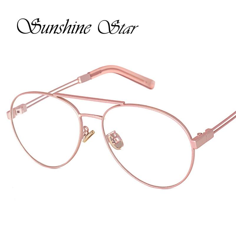 Glasses Frames 2017 Women s : Sunshine star 2017 New Aviator Clear lens glasses Metal ...