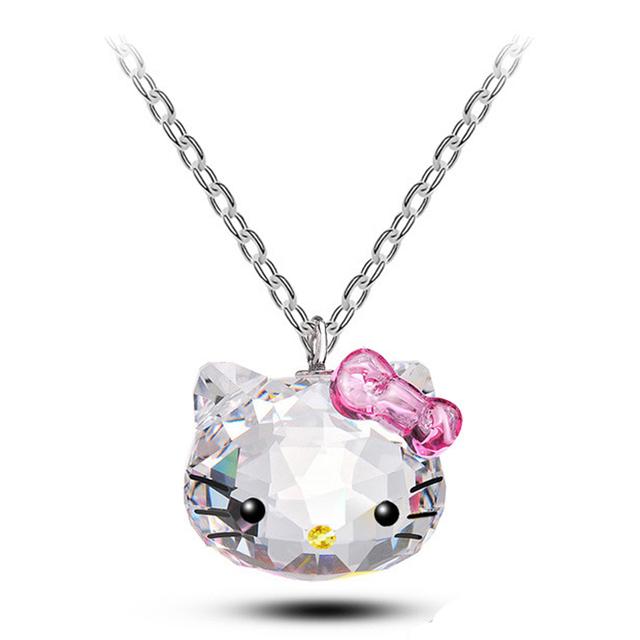 2016 novo aço inoxidável cadeia swa elements cristal pingentes bonito hello kitty gato colares bijuterias para as mulheres b014