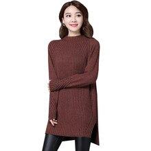 Для женщин Свитер с воротником платье осень-зима свободные Бисер трикотажные Платья для женщин леди теплый толстый Разделение пуловер свитер Vestidos ab535