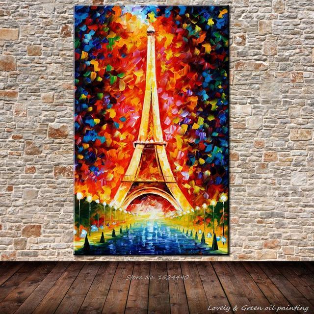 Ручной романтичный город париж эйфелева башня пейзаж картины маслом Handpainted мастихином холст маслом для домашнего декора