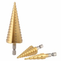 3pcs HSS Titanium Quick Change 1 4 Hex Shank Step Cone Drill Bit Set Hole Cutter