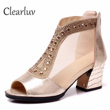 Fish mouth sandals female summer with 6.5cm new wild rhinestone thick with women's shoes mesh high heel sexy single shoes C1299 стоимость