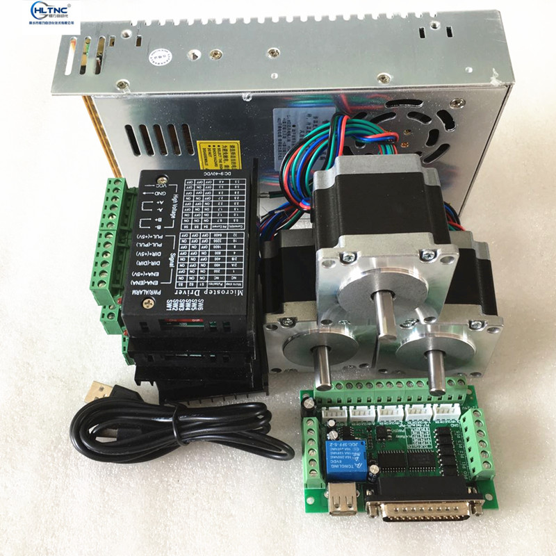RUS Ship 3pcs 57HS5630A4 /D8 Nema23 Stepper Motor + TB6600 Driver + 5 Axis Interface Board  + Power Supply For CNC Router