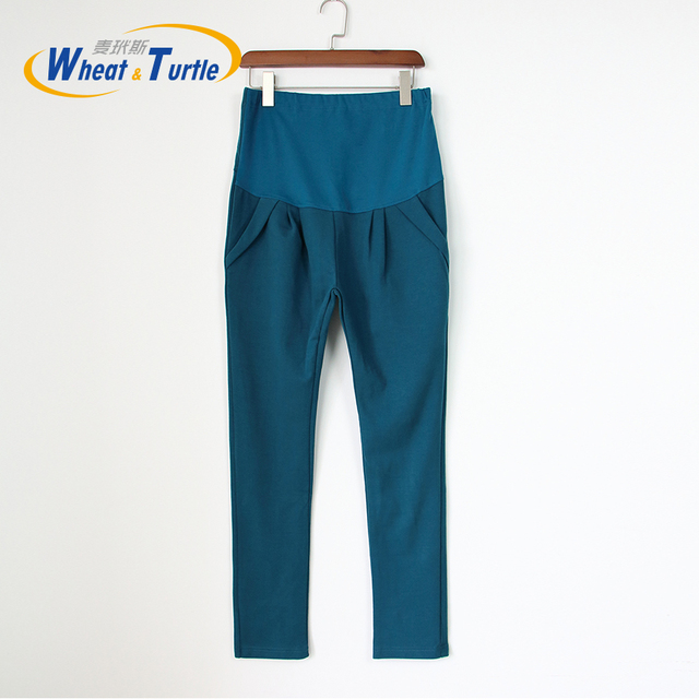 2016 New Arrival Good Quality Cotton Peacock Blue Maternity Pants All Match All Season Casual Harlan Pants For Pregnant Women