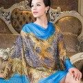 Blue Female Long Silk <font><b>Scarf</b></font> Shawl Printed Fashion Brand Blue Silk <font><b>Scarf</b></font> <font><b>Wraps</b></font> Women All-match Luxury Pure Silk Chiffon <font><b>Scarves</b></font>