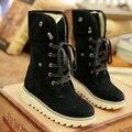 Tamanho grande 34-43 Botas de Neve do Inverno do Tornozelo Sapatos Da Moda Mulher Black Lace Up Botas de Borracha Antiderrapantes Sapatos Quentes Botas Femininas 4 cores